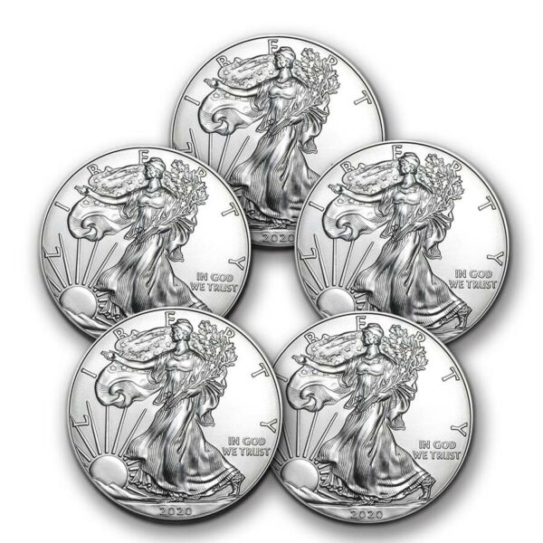 2020 1 oz American Silver Eagle BU Lot of 5 Coins $1 US Mint Silver