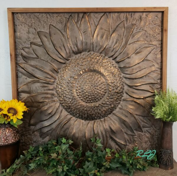 Large Rustic Distressed Bronze Embossed Sunflower Metal Wall Art Panel Plaque