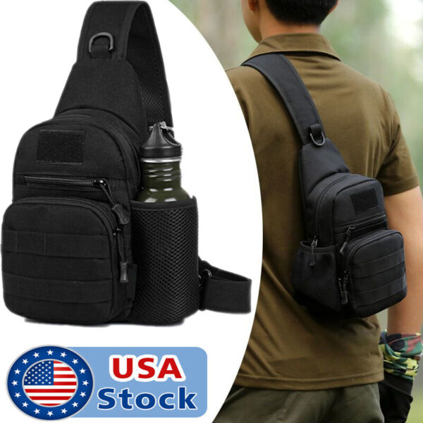Men#x27;s Tactical Sling Bag Chest Shoulder Molle Small Daypack Backpack for Outdoor $12.99