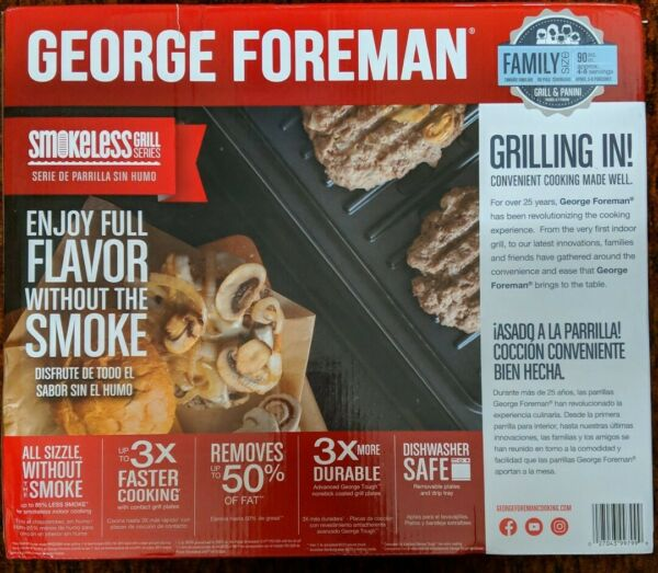 George Foreman Contact Smokeless Grill Family Size (4-6 Servings) Stainless - CR