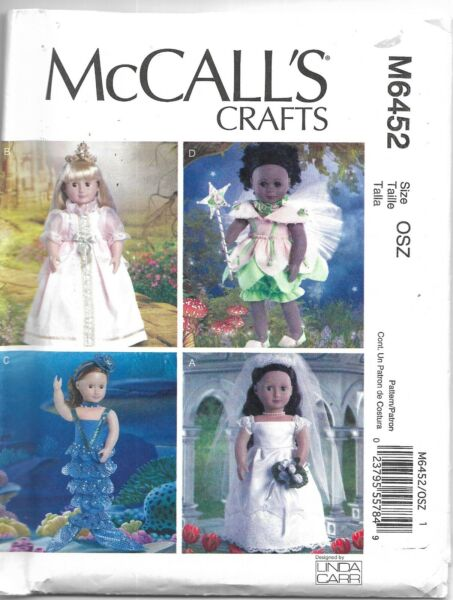 McCalls #6452 COSTUMES FOR 18quot; DOLLS Sewing Pattern Uncut by Linda Carr $6.50