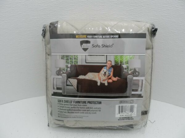 Sofa Shield Reversible Furniture Protector For Recliner Chocolate Beige NEW $21.99