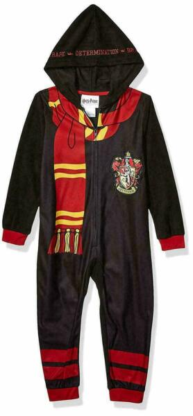 Harry Potter Boys Size 8 M Black Fleece Long Sleeved Hooded One-Piece Pajamas $13.22