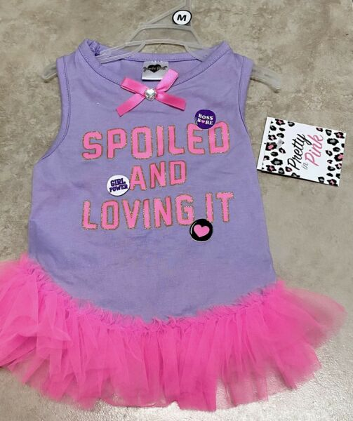 "Smoochie Pooch Dog PurplePink Dress "" SPOILED AND LOVING IT "" MEDIUM $12.00"