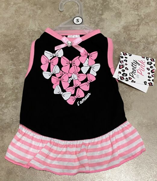 Smoochie Pooch Dog Black With Pink Bows Dress SMALL $12.00