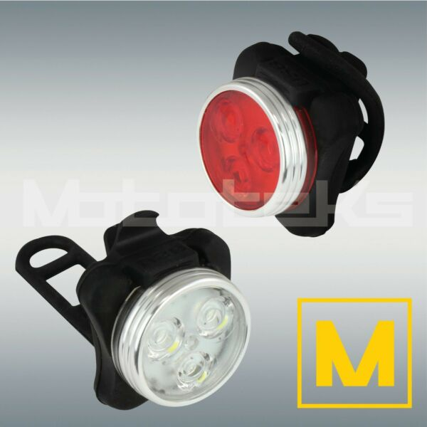 LED Rechargeable Bike Lights Front Headlight amp; Rear Tail Light White amp; Red Set $10.99