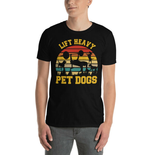 Vintage Retro Lift Heavy Pet Dogs Funny Gym Dog Lifting Weights Dog Lover Shirt $14.00