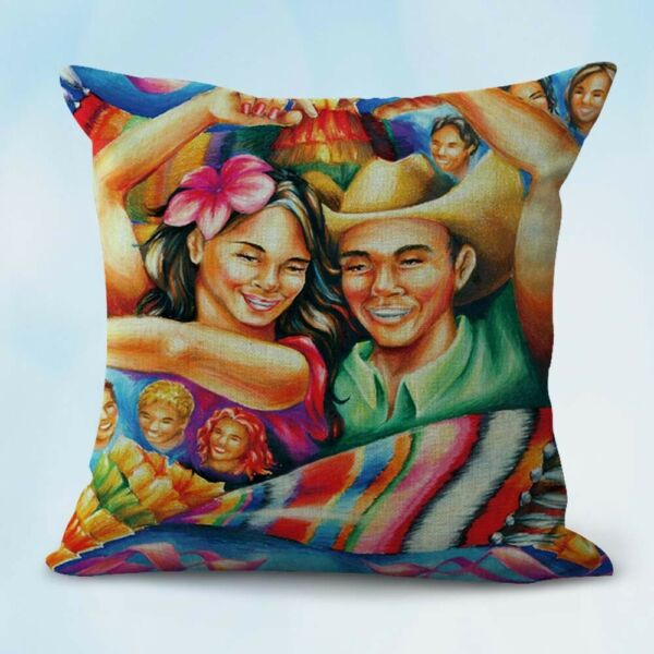 hispanic art Mexican family cushion patio furniture cushion covers $14.96