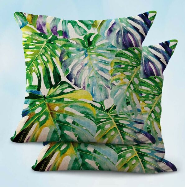 2PCS patio furniture cushion covers tropical summer foliage monstera $21.89