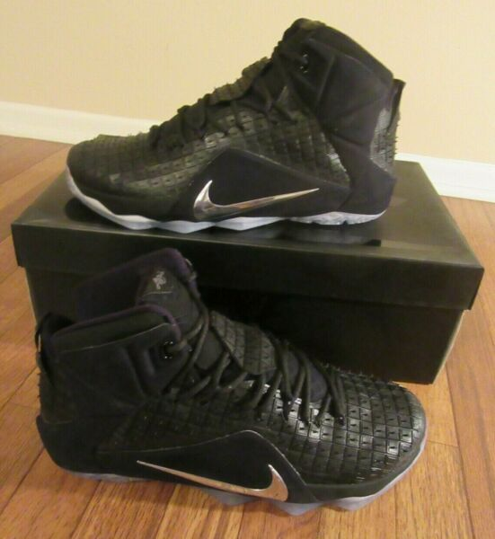 Nike Lebron XII 12 EXT RC QS Size 11.5 Black Chrome 744286 001 Rubber City New