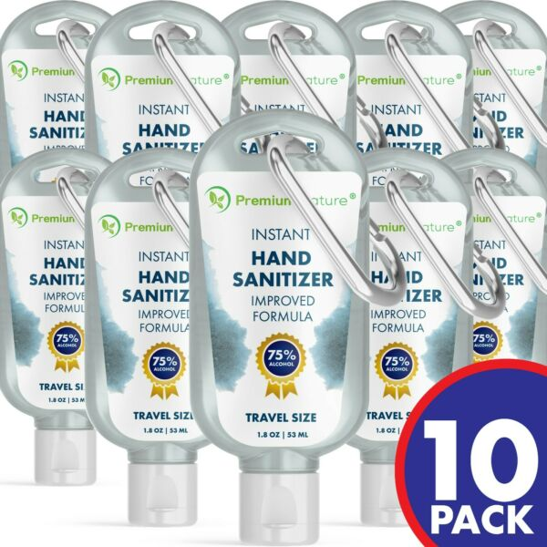 1.8 OZ Hand Sanitizer Advanced Gel KILLS 99% Of Germs US SELLER KEYCHAIN 10 PK
