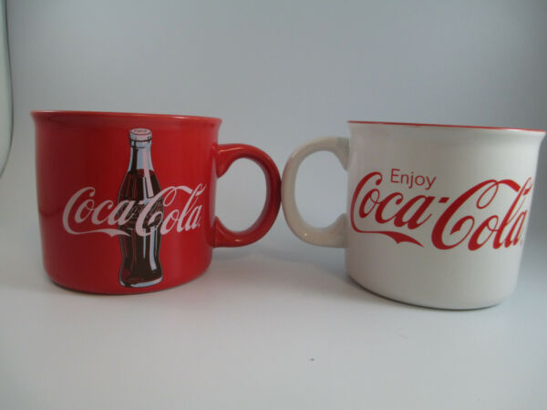 Coca Cola Set of 2 Stoneware 21 Ounce Coffee Mug Cups Soup Bowls
