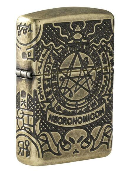 Zippo 29561 Book of the Dead Antique Brass Lighter 360 Degree Mulit Cut Armor