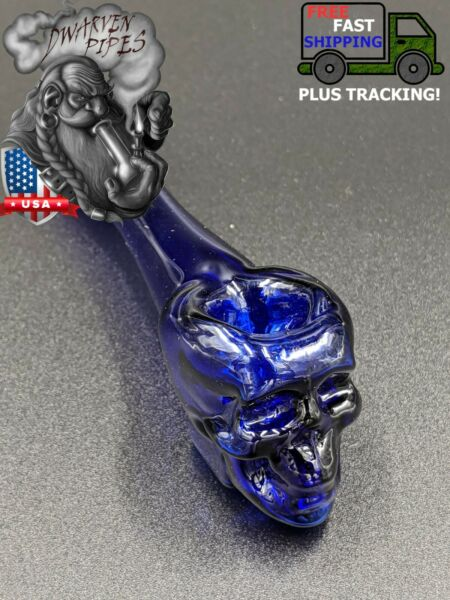 4quot; Tobacco Smoking Pipe Bowl Glass Hand Pipe Skull Blue