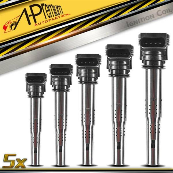 Pack of 5 Ignition Coil for 2005-2015 Volkswagen Passat Jetta Beetle Golf 2.5L