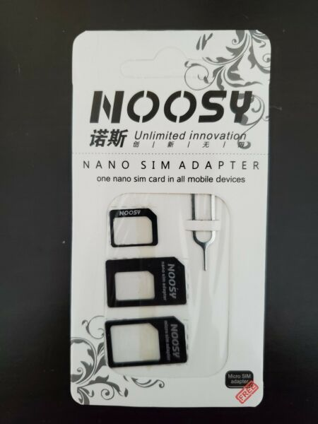 *Black* 4 in 1 NOOSY Sim Card Adapter Removal tool for Samsung Apple iPhone