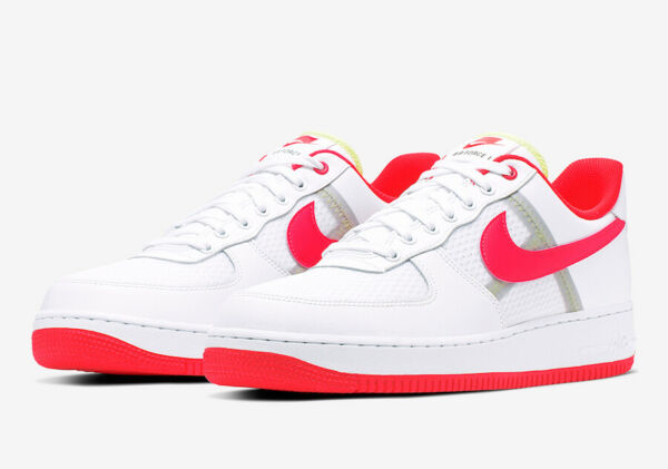Nike Air Force 1 '07 LV8 1 Casual Shoe White Bright Crimson CI0060-102 Men's NEW