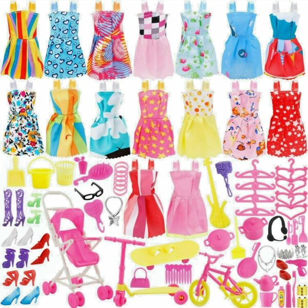 114 Pcs Fits Barbie Doll Party Clothes Gowns Outfits Accessories Shoes.. Lot 2