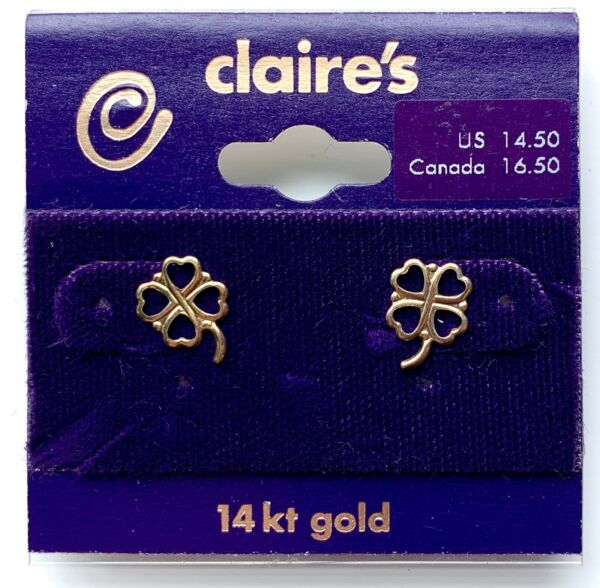 NEW Four Leaf Clover Claires Genuine 14 kt Gold Stud Earrings