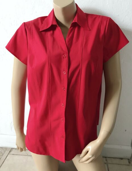 STYLE & CO Stretch Womens Size 14 Red Short Sleeve Button Front Collared Shirt  $12.99