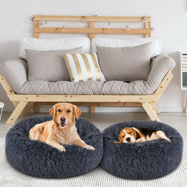 Pet Dogs Cats Calming Marshmallow Bed Plush Round Nest Donut Kennel Cave Cuddler $17.91