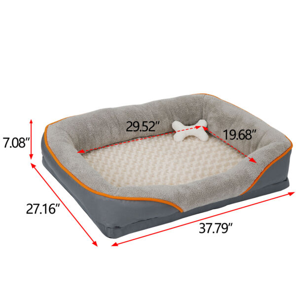 Orthopedic Dog Bed Sofa Memory Foam Lounge w Removable Cover amp; Toy to Sleep Play $42.99