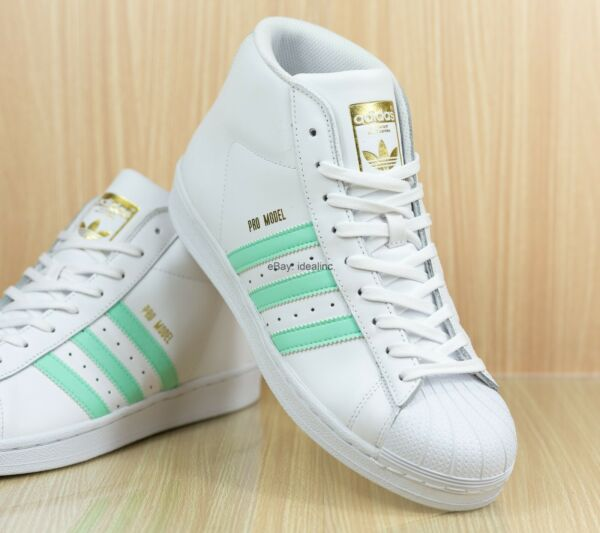 Adidas Pro Model Sneaker BY3728 White Teal Leather Casual Men's size 9.5