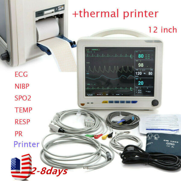 12''Vital Signs ICU CCU Patient Monitor Machine ECG NIBP RESP TEMP PR W Printer