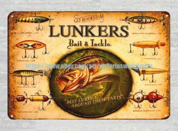 affordable home goods Lunkers Bait Tackle Fly Fishing metal tin sign