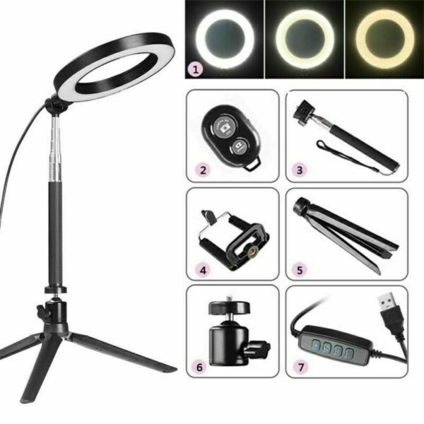 8 LED SMD Ring Light Kit With Stand Dimmable 5500K For Camera Makeup Phone