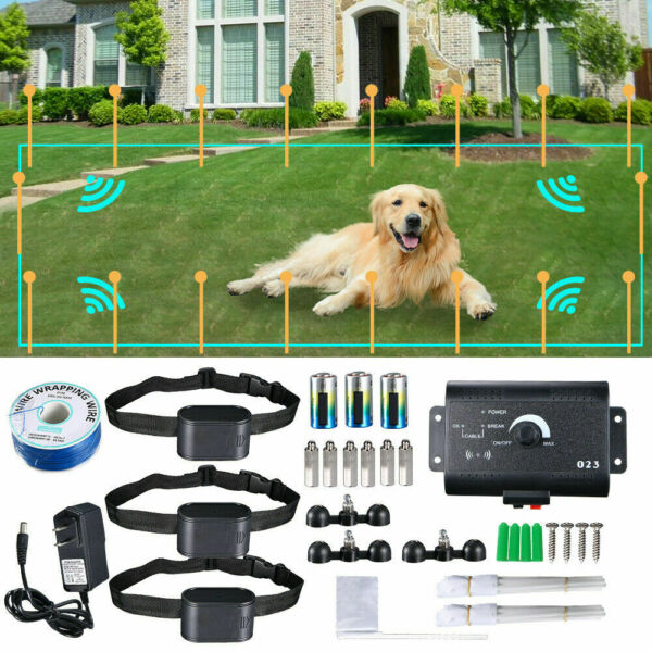 Electric Dog Pet Fence Trainning System Waterproof Shock Collars For 2 3 Dogs $42.99