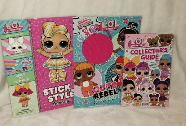 LOL SURPRISE Lot of 3 Collector Guide Coloring Book Lux Stick and Style Bundle