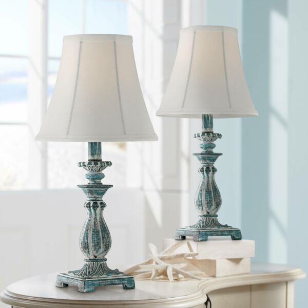 Cali Blue Candlestick Accent Table Lamps Set of 2