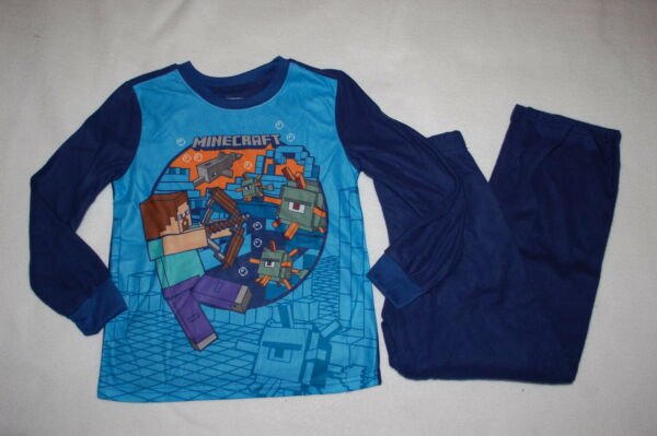 Boys L S Flannel Pajamas Set MINECRAFT Under Water DOLPHIN FISH Size 6 7 8 10 12 $18.00