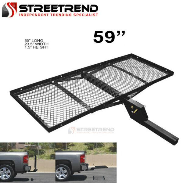 59quot; Black Steel Foldable Trailer Tow Hitch Cargo Carrier Tray For 2quot; Receiver SF $143.82