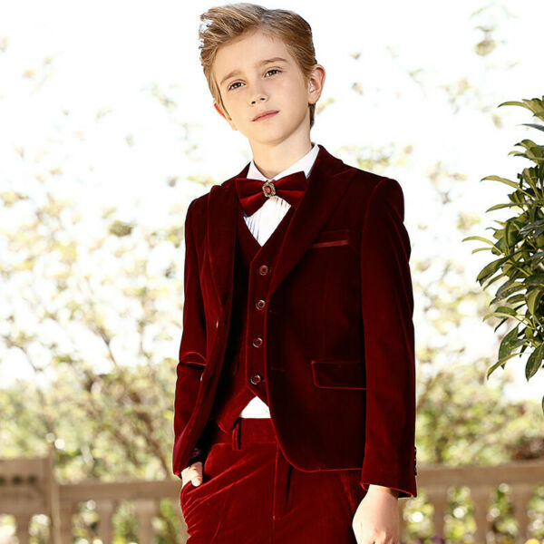 Burgundy Boys Wedding Suits Velvet Prom Page Boy Baby Formal Party Kids 3 Piece $29.99
