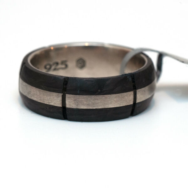 New DAVID YURMAN Men#x27;s 8.5mm Forged Carbon Band Ring in Forged Carbon Size 12.5 $395.00