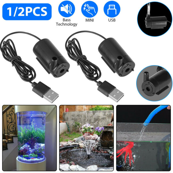Small Water Pump Mini Mute Submersible USB 5V 1M Cable Garden Home Fountain Tool $8.65