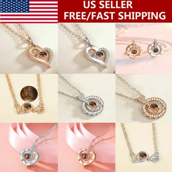 100 Languages Light I Love You Projection Pendant Necklace Valentine#x27;s Day Gifts $6.10