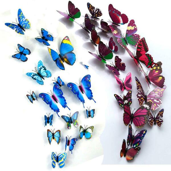 Home Decor 3D Fake Butterfly Magnet Wall Sticker Colorful DIY Fridge Party Decor