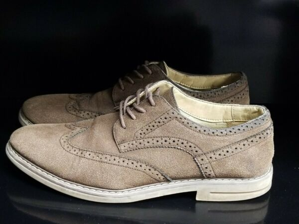 IZOD Brown Suede Mens Carey Wing Tip Lace Oxford Casual Dress Shoes Sz 10D