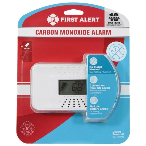 First Alert Carbon Monoxide Detector Temperature Display 10 Year Battery $65.28