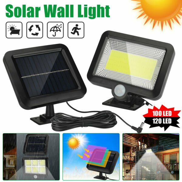 100 120 LED Solar Power PIR Motion Outdoor Garden Light Security Flood Wall Lamp $22.97