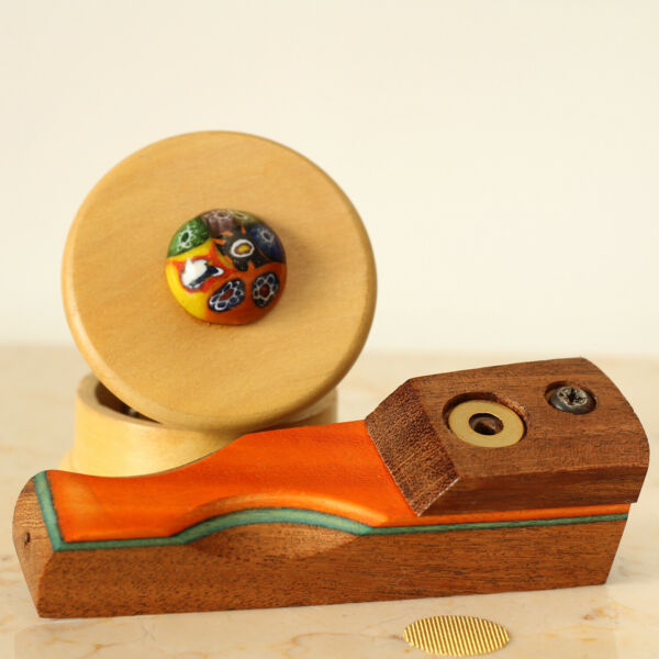 Orange Hand Crafted Smoking Pipe Tobacco Pot Wood Pipe amp; 2pc herb Grinder $12.33