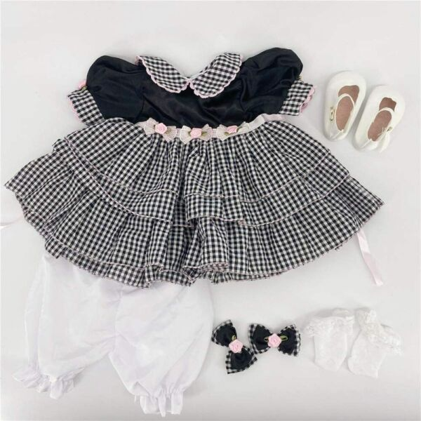 Reborn Baby Doll Clothes Black Princess Dress for 22
