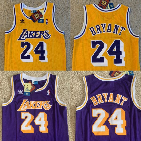 Kobe Bryant Lakers Jersey 24 Yellow Purple Swingman Throwback Classic - NWT
