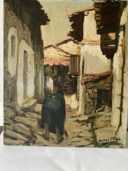 Rafael Ortega Modernist Cityscape Painting (1927-2011) LISTED Spanish Vintage