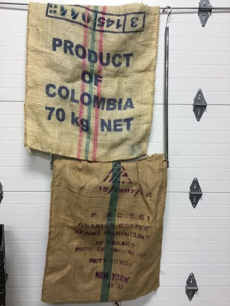 2 Large Columbia Coffee Bean Burlap Bag Sack Wall Art 29quot; X 36quot;