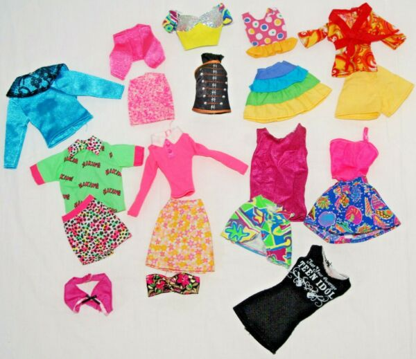 Doll Clothes Lot for Barbie and Fashion Dolls Tops Skirt Outfit Shorts Pink Blue