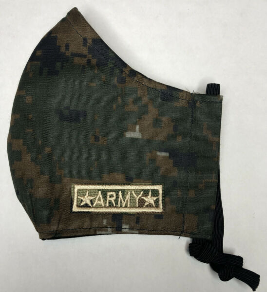 Army Camo Mask w FILTER POCKET Washable 100% Cotton w Nose Wire S M L